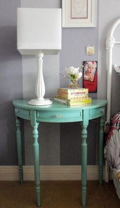 Use Demilune tables for side tables? could cut a full table in half and as .Use Demilune tables for side tables? could cut a full table in half and use it as a side table. Night stands at nightBedside tables Ana WhiteAna White Furniture Makeover, Diy Furniture, Redoing Furniture, Accent Furniture, Bedroom Furniture, Spray Paint Table, Redo End Tables, Half Table, Console Table