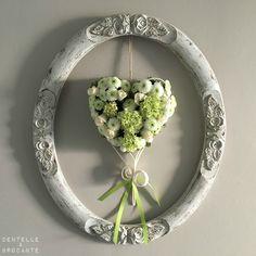 DEB: Composition florale cœur vert et blanc! Bonne Saint-Valentin...