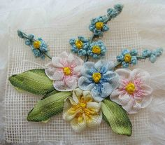 Treasury Item Circa 1920s Beautiful Spray Of French Ombre Ribbonwork Rosettes and Forget Me Nots New Old Stock