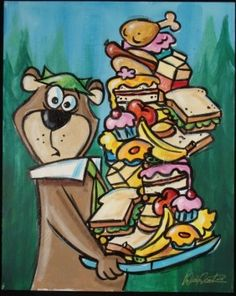 Image result for bear cartoon eating