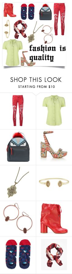 """Designs and style"" by emmamegan-5678 ❤ liked on Polyvore featuring R13, Etro, Fendi, Tabitha Simmons, Kendra Scott, Maison Margiela, Happy Socks, Brooks Brothers and modern"