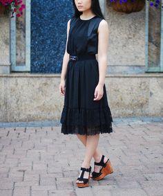 Look at this #zulilyfind! Black Lace-Hem Belted Dress #zulilyfinds