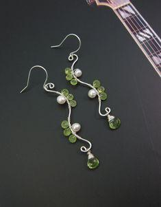 Sterling Silver Peridot Earrings Sterling by PurplePoemCraft, $48.00