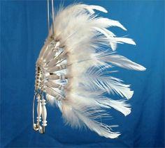 Image detail for -... WHITE Beaded Mini Headdress Car, Auto, Suncatcher, Ornament War Bonnet