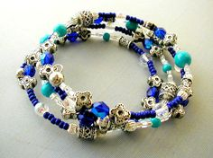 Cobalt Turquoise and Silver Memory Wire by SimplyBeadedTreasure