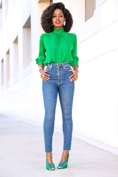 Style Pantry | Frill Neck Blouse + High Waist Jeans