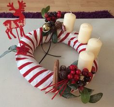 Reindeer, red and white, modern