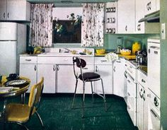 Pace-Setting Kitchen from 1951 I love the yellow chrome table and chair set.  Also the floor and wall colors