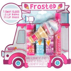 Frosted Ice Cream Truck Lip Gloss n Balm 5 Piece Set Tutti Fruity, Strawberry Cream, Vanilla Bean, Berry Sorbet, Berries'n Cream