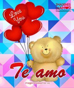 Oso con globos de corazón y frase: Te amo