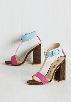 Fusion My Mind Heel in Pastel. The way these faux-suede pumps combine color, texture, and design is enough to make anyone absolutely giddy! #pink #modcloth