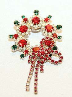 Vintage Christmas Julianna Red Green Prong Set Exceptional  Austrian Rhinestone Wreath. Completely Covered with Luscious Austrian Crystal Rhinestones. WOW !