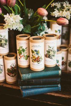 Romantic Botanical Wedding Inspiration - seeds to grow edible flowers - wonderful wedding favor idea!
