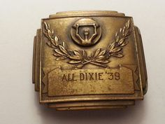 VINTAGE SPORTS MEDAL WEIGHTLIFTING 1939 ALL DIXIE BELT BUCKLE