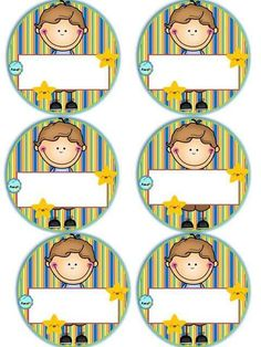 Badges for Kindergarten Children - Preschool Children Akctivitiys First Day Of School, Pre School, School Days, Sunday School, Classroom Labels, Classroom Decor, Childhood Education, Kids Education, Kindergarten