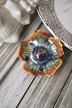 Ceramic Artefact - ceramic brooch Flower Anemone. Artefact brooch - Orange Blue Flower Anemone - beautiful clay brooch flowers - porcelain by CeramicArtefacts on Etsy
