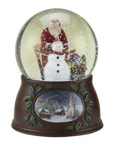 Roman Christmas Musical Revolving Santa Claus and Snowman Snow Globe Glitterdome Plays Have Yourself A Merry Little Christmas