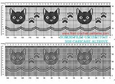 Cross Stitch Borders Free filet crochet border pattern with cat faces and fingerprints width 34 squares Filet Crochet, Chat Crochet, Crochet Cross, Crochet Chart, Thread Crochet, Crochet Stitches, Crochet Edgings, Crochet Faces, Cross Stitch Borders