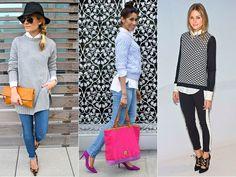 Uma camisa branca e várias opções de looks