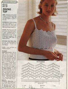 Diy Crafts - Zig Zag Summer To Crochet Pattern. More Patterns Like This! Débardeurs Au Crochet, Crochet Motifs, Crochet Woman, Crochet Stitches, Crochet Patterns, Zig Zag Crochet Pattern, Crochet Summer Tops, Crochet Halter Tops, Crochet Crop Top