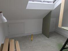 Low attic wardrobes | booker designs Ikea Storage Units, Loft Storage, Eaves Storage, Attic Wardrobe, Attic Closet, Loft Room, Closet Bedroom, Loft Conversion Bedroom, Attic Conversion