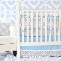 Our Gray and Blue Mod baby bedding combines the perfect shade of baby blue and gray to help you design your perfect dream nursery!