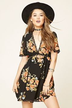 Forever 21 Contemporary - A woven A-line dress featuring a floral print, V-neckline, scalloped lace trim, short bell sleeves, and a concealed back zipper.