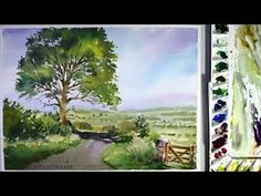 Watercolor landscape painting :a road across a field - YouTube #LandscapeDrawing