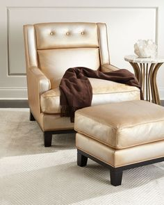 Quinn+Metallic+Leather+Chair+and+Matching+Items+by+The+Eleanor+Rigby+Leather+Company+at+Horchow.