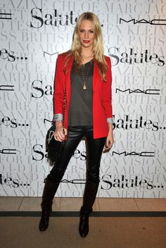 red blazer with black leather skinny pants