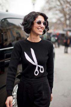 Scissor graphic sweaters make our cut. Too cute.