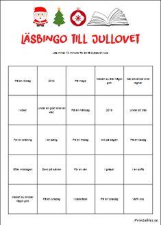 Läsbingo till jullovet | Gratis printables att skriva ut själv Swedish Language, School Posters, Bingo, Printables, Diy And Crafts, Disney, Parents, Writing, Education