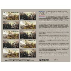 The Civil War: 1865 The Civil War (1861-1865), the most wrenching chapter in American history, claimed the lives of more than 620,000 soldiers and brought vast changes to the country. The Postal Service™ concludes its commemoration of the 150th anniversary of the war by issuing a souvenir sheet with two new stamp designs for 2015.  One stamp depicts the Battle of Five Forks, near Petersburg, Virginia, on April 1, 1865. The other stamp depicts Robert E. Lee's surrender to Ulysses S. Grant at…