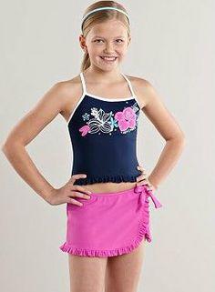 dbdc9bdef6 New Girls ZeroXposur Floral 4pc Tankini Bathingsuit Swimsuit Set 14 16