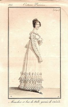 Highly decorative white gown 1816 Costume parisien