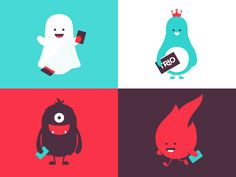 Dribbble - Trio Brand Characters by Hype & Slippers