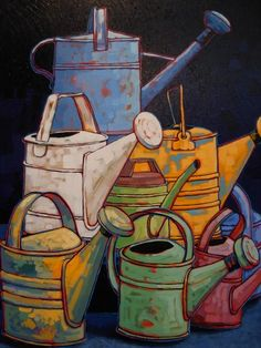 Elizabeth Evans - Watering Cans.jpg (360×480) stack it- nice for a resist