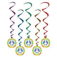 A great deal on Hippie Peace Sign swirly party decorations. $5-could totally make these for nearly free