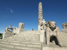 Oslo's most visited tourist destination, Vigeland Park, is the largest sculpture park in the world by a single artist. Most Visited, Worlds Largest, Statue Of Liberty, Norway, Places Ive Been, Mount Rushmore, Europe, Sculpture, Mountains