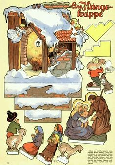 The Night Before Christmas Paper Model - by Mel Cummin - == - A beautiful vintage paper model called The Night Before Christmas, created in 1922 by nor Nativity Clipart, Diy Nativity, Christmas Nativity Scene, Christmas Paper, Christmas Projects, Christmas Time, Vintage Christmas, Nativity Scenes, Vintage Paper Dolls