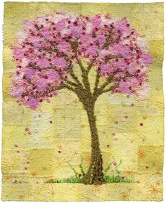 "Blossom Tree on Yellow, embroidery art | 8"" x 10"" 17"" x 21"" … 