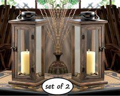 "2 brown nautical shutter wood /& metal 12/"" Candle holder Lantern terrace outdoor"