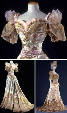"""Evening dress, ca. Three pieces (two bodices and skirt) in """"velour de sabre"""" with ivory satin background and a rose pattern in pastel hues. Edwardian Gowns, Edwardian Fashion, Victorian Gown, Vintage Fashion, Fashion Goth, Vintage Beauty, Vintage Gowns, Mode Vintage, Vintage Outfits"""