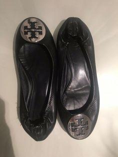 42c8a46931a8b7 Tory Burch Reva Black Leather Womens Ballet Shoes Flats Size 8 M  fashion   clothing