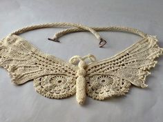 Irish Crochet Lace Butterfly Statement Necklace