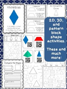 A HUGE geometry unit that can be easily differentiated for students in kindergarten through 2nd grade. includes 3D, 2D, and pattern block activities.