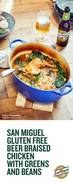 Chicken Braised in San Miguel Gluten Free Beer with Greens and Beans Beer Recipes, Curry Recipes, Easy Dinner Recipes, Slow Cooker Recipes, Vegetarian Recipes, Chicken Recipes, Cooking Recipes, Healthy Recipes, Vegetarian Dinners