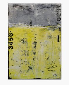 "Title: Roadside.  Made on 24x36x1.5 canvas - unique textures urban contemporary original painting yellow/grays - beautiful!  100% ORIGINAL – ONE-OF-A-KIND PAINTING BY ERIN ASHLEY ©  HIGH QUALITY GALLERY WRAPPED CANVAS WITH SIDES 1-1/2INCH DEEP PAINTED IN BLACK  PAINTING WILL ARRIVE WITH SIGNED ""CERTIFICATE OF AUTHENTICITY""  SIGNED BY ARTIST EITHER ON FRONT OR SIDE OF CANVAS AND BACK OF CANVAS  CANVAS WILL ARRIVE WIRED READY TO HANG  ART WORK IS SEALED/PROTECTED WITH A HIGH"