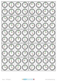 Generate random bingo & lotto games with clock faces Printable Worksheets, Printables, Teacher Picture, Lotto Games, Preschool Learning Activities, Math Games, Maths, Small Cards, Bingo Cards