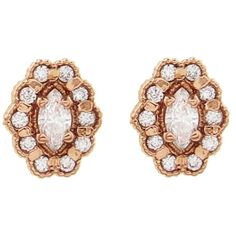Megan Thorne Mosaic Marquise Diamond Stud Earrings ($1,595) ❤ liked on Polyvore featuring jewelry, earrings, rose, 18k diamond earrings, diamond jewelry, mosaic earrings, handcrafted earrings and 18 karat gold earrings